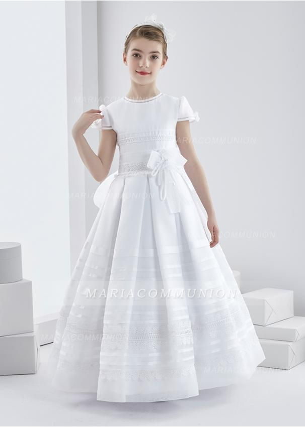 24ad6f6195d Short Sleeve Jewel Neck Long Lace Trimmed Organza First Communion Dress  with Dramatic Bow