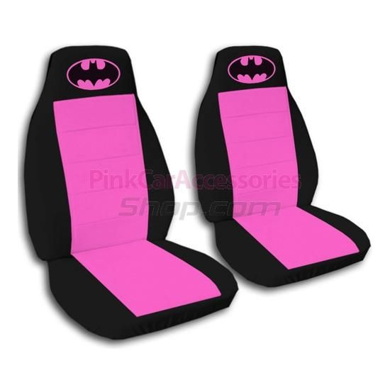 A Set Of 2 Front Hot Pink And Black Girly Skull Car Seat Covers With Your Name Or Text On Them Semi Custom Fit Size That We Can Make To Any