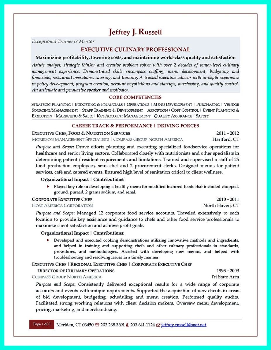 cool Chef Resumes That Will Impress Your Future Company