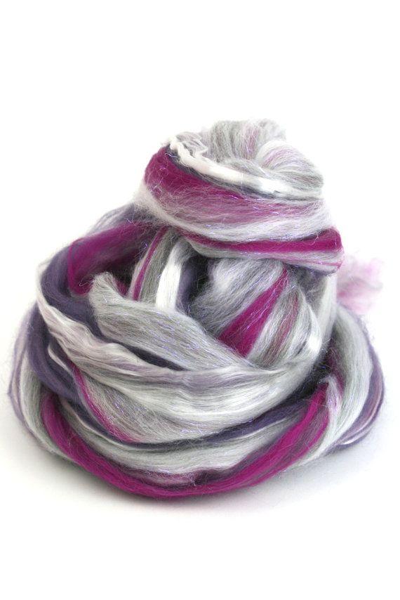Sugar Plum Fairy - Spinning fiber and Felting Fiber - blended roving - Tencel…