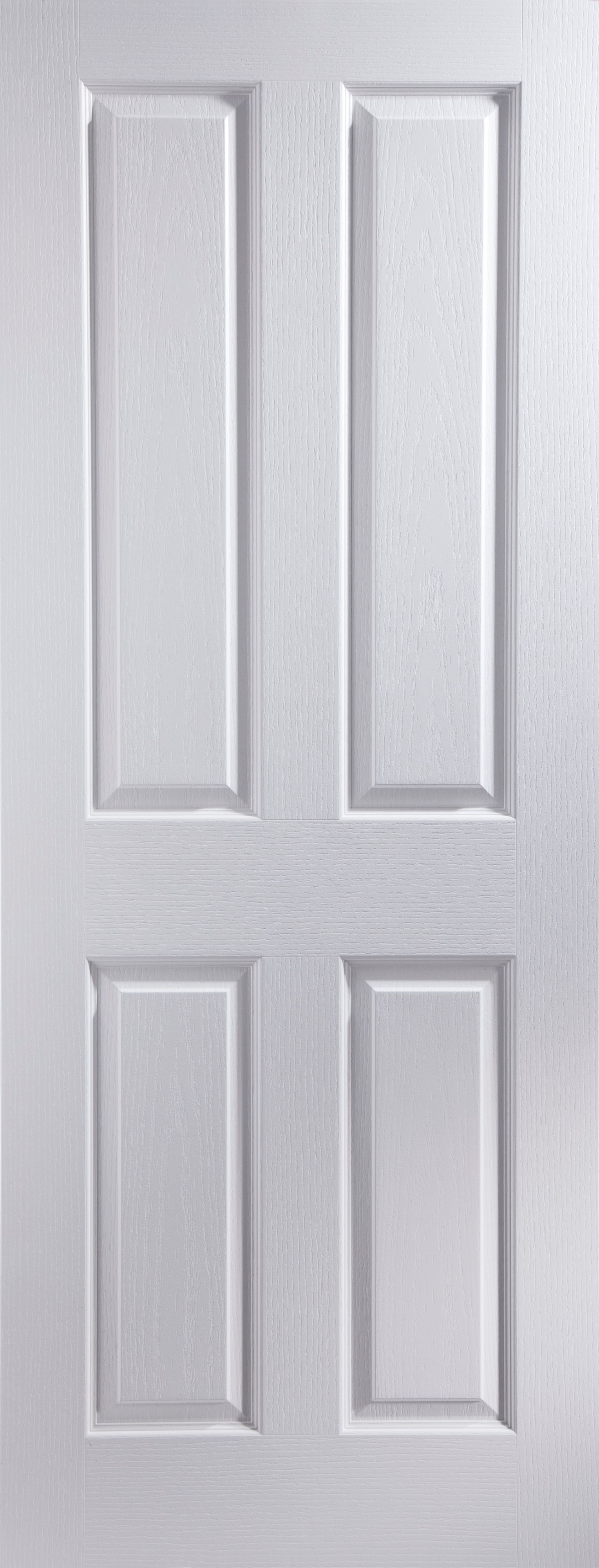 4 Panel Pre Painted White Woodgrain Internal Unglazed Door