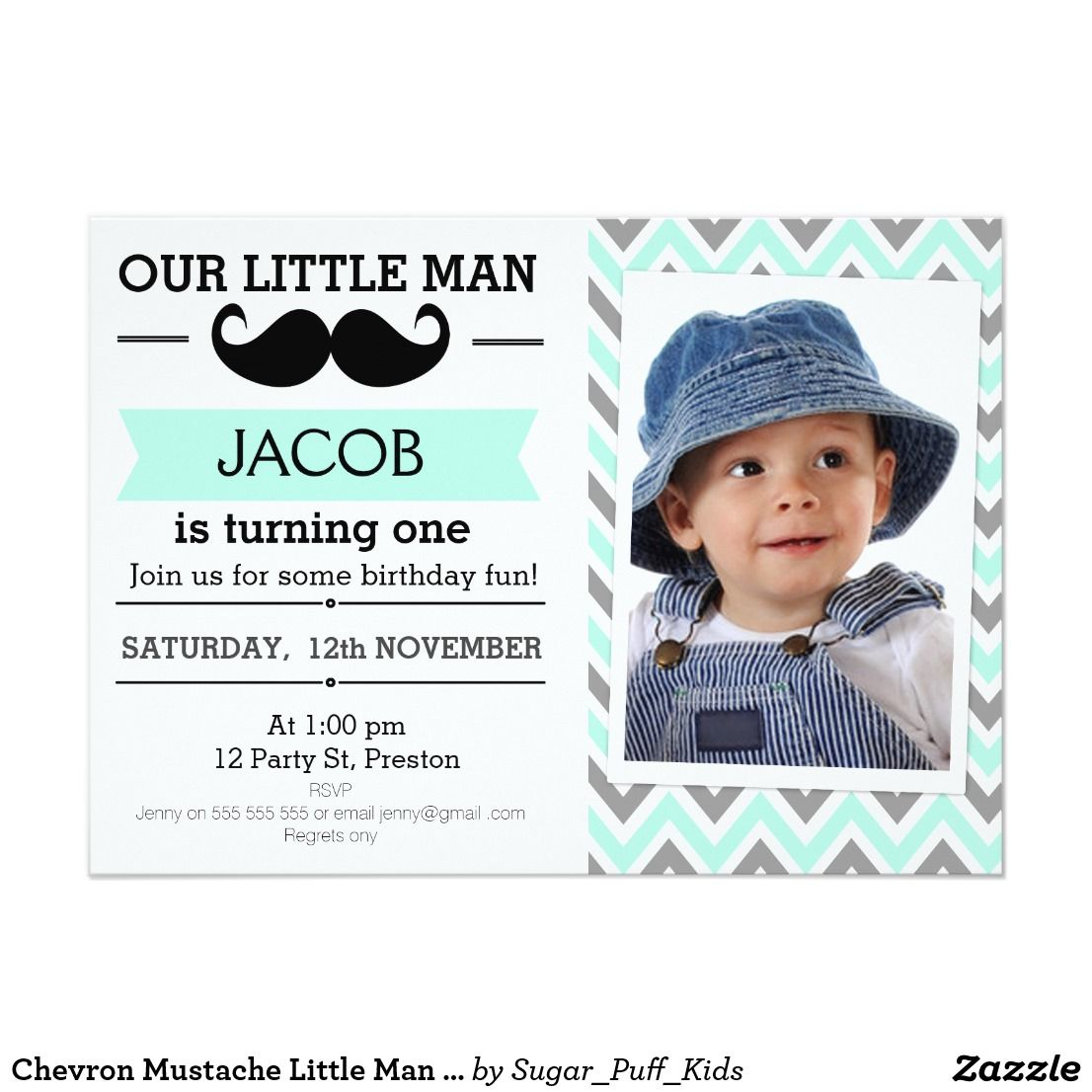 Chevron Mustache Little Man Birthday Invitation This boy\'s mustache ...