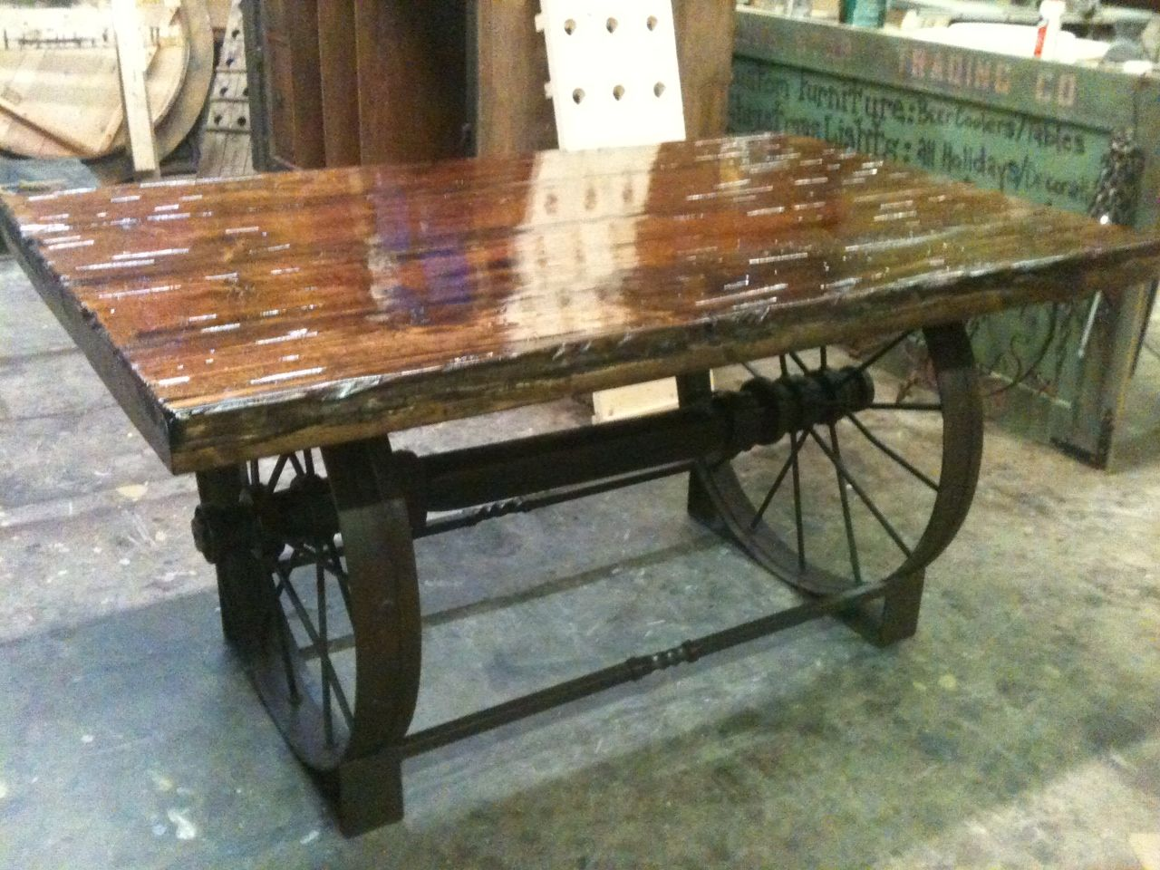 metal wagon wheel table - google search | dining room | pinterest