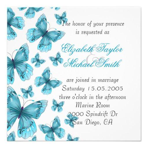 Luxury Blue Elegant Butterfly Wedding Invite