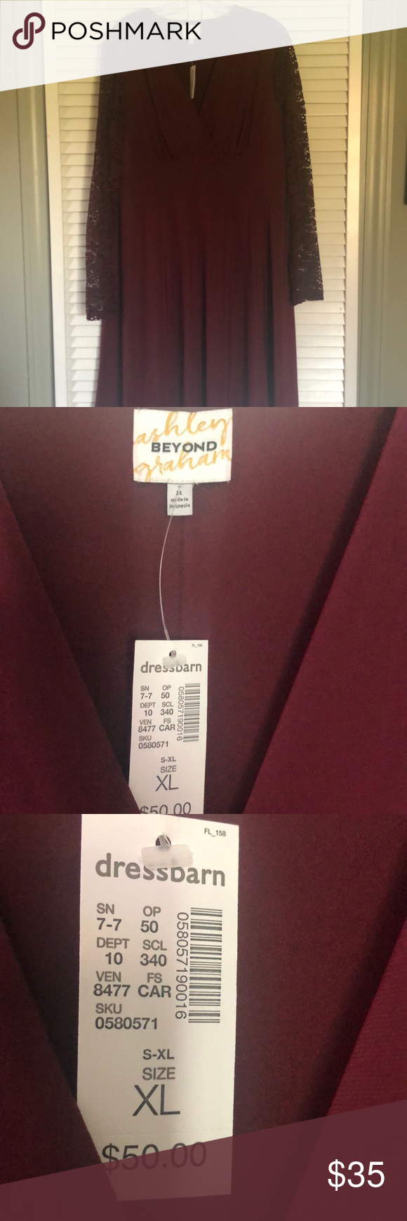 5860a32d721 NWT Dress Barn Ashley Graham Collection dress Never warn with tags still  attached burgundy with lace