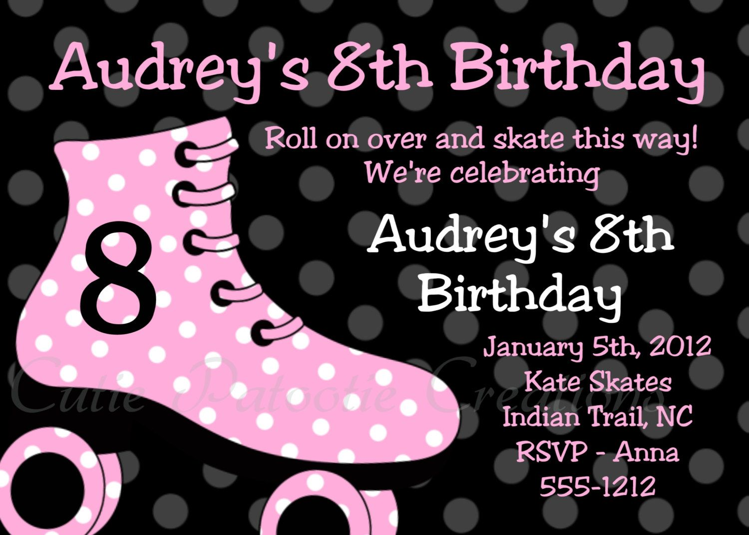 Roller Skating Birthday Invitations - Pink and Black - Printable ...