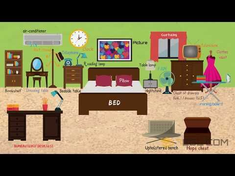 In the Bedroom Vocabulary | Names of Bedroom Objects | 7ESL ...