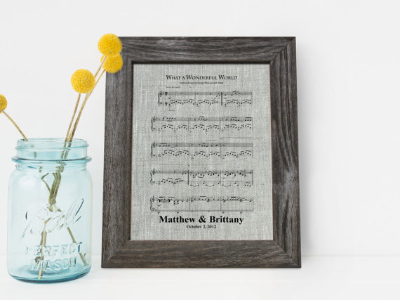 First Dance Song 4th Wedding Anniversary Linen Gift 4 Years Together Fourth Music Notes Sheet LA0115