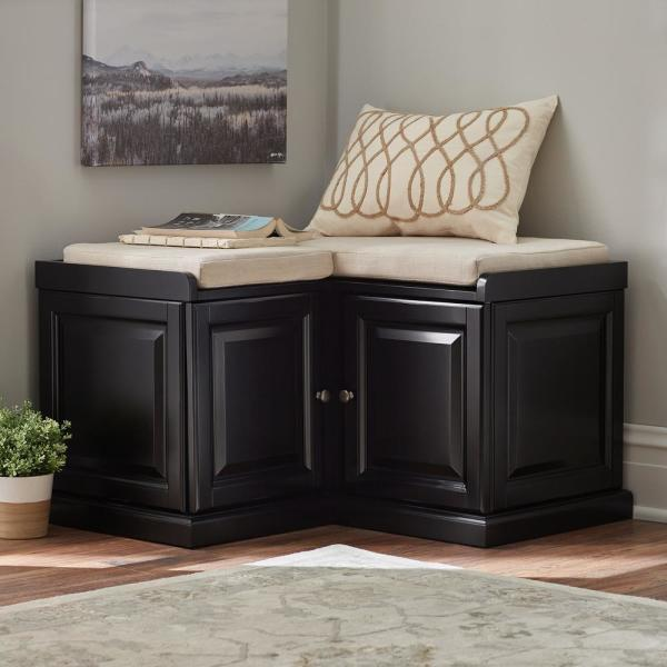 Home Decorators Collection Walker Black Storage Bench 7400600210 The Home Depot Black Storage Bench Corner Bench With Storage Storage Bench