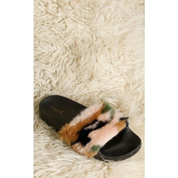 61995908bd0 Qupid Faux Fur Camo Platform Slides ( 20) ❤ liked on Polyvore featuring  shoes