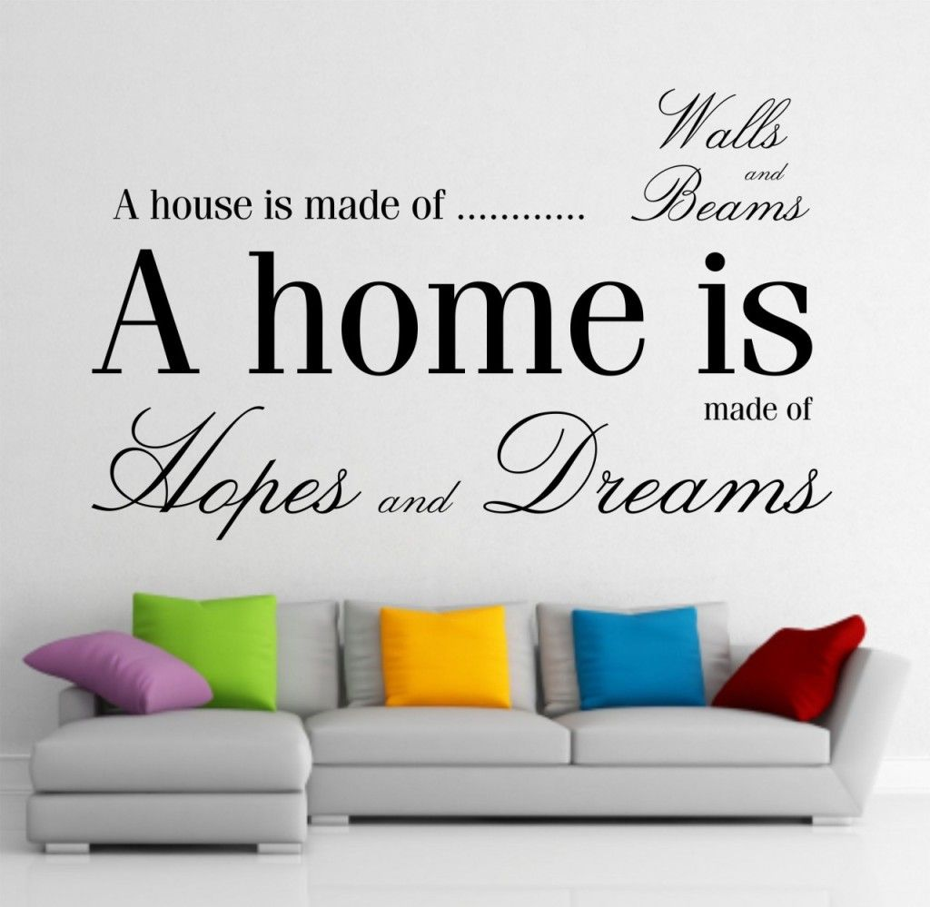 modern living room decorated with a giant wall sticker - give a