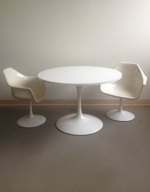 midcentury modern vintage tulip pedestal dining set 60s table and set of four chairs