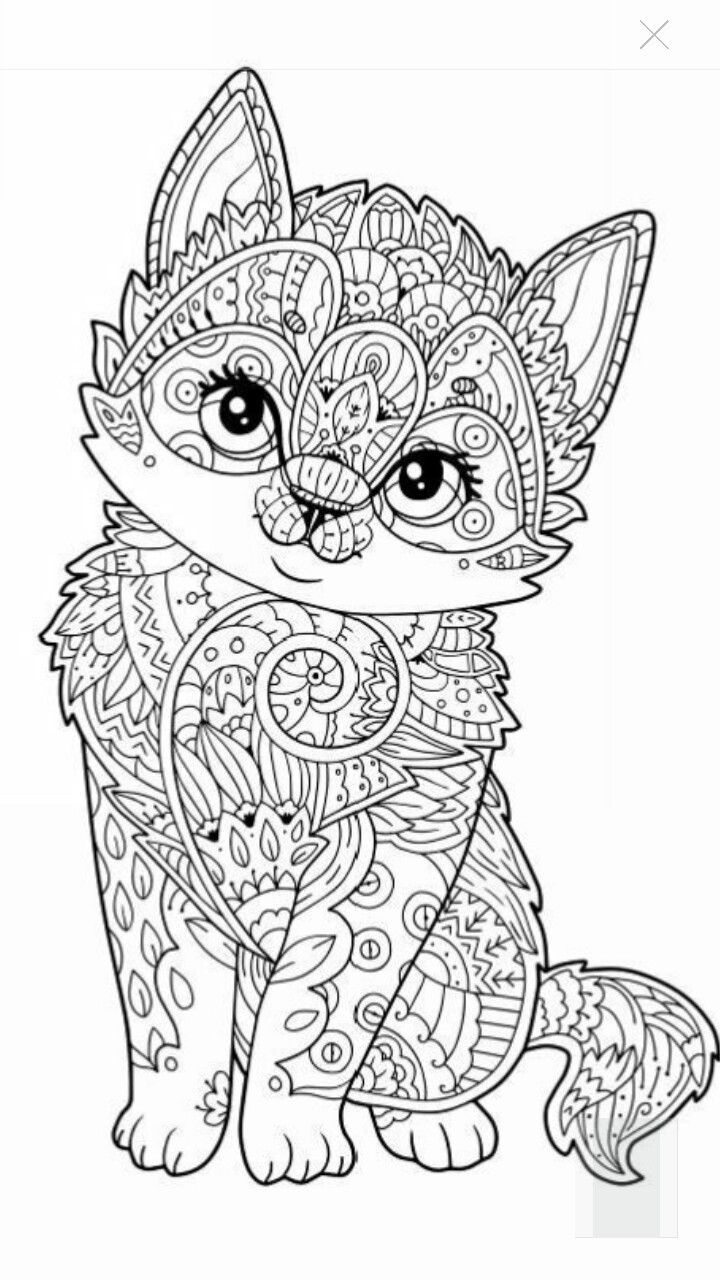 Cute kitten coloring page | mandala | Pinterest | Adult coloring ...