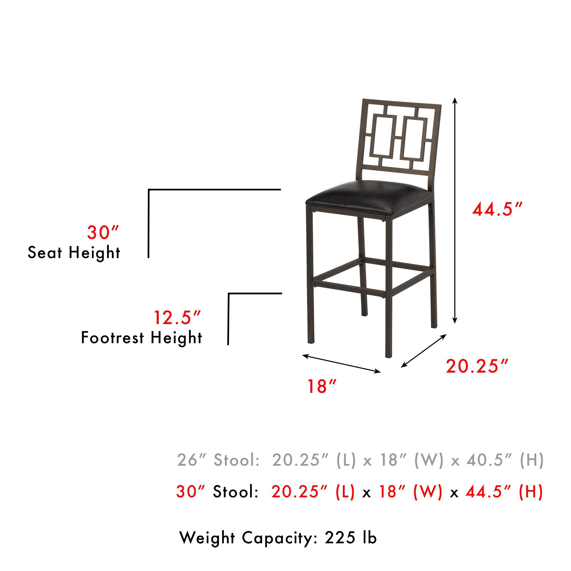 Lansing Metal Barstool With Black Upholstered Seat And Coffee Frame Finish 26inch Click Image For More Details Affi Metal Bar Stools Bar Stools Foot Rest