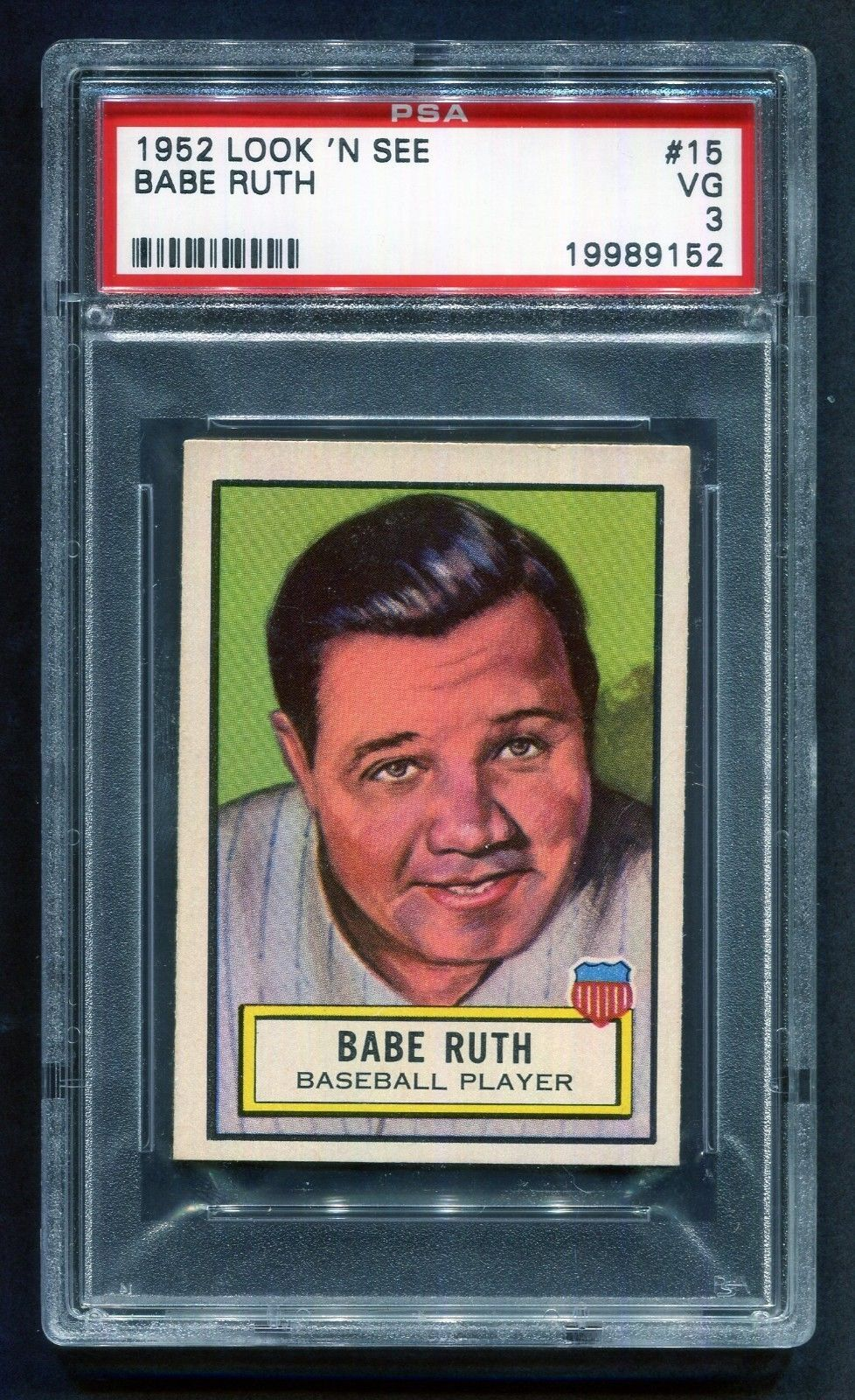 1952 topps look n see 15 babe ruth psa 3 vg baberuth