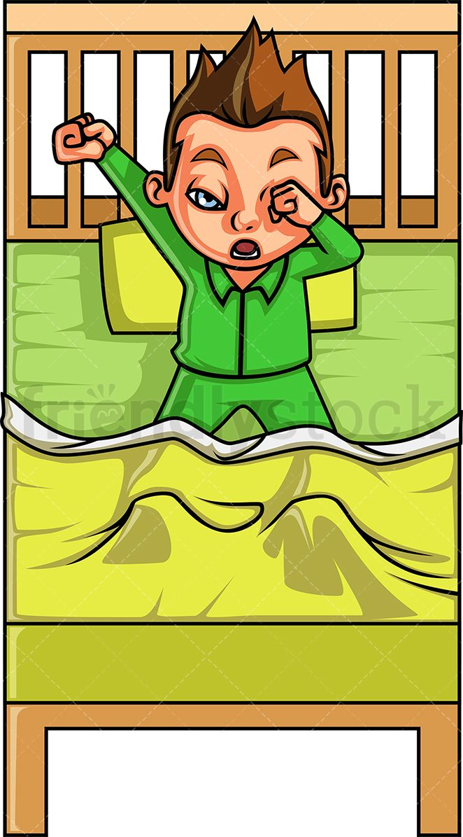 vector illustration of a little boy with brown hair yawning and stretching  while still under covers in his bed.  friendlystock  clipart  cartoon   vector . b3078246a753
