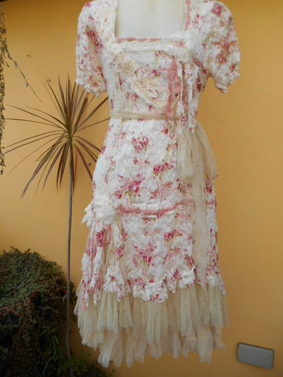 bohemian dress/tunic in rose print lace with ivory by wildskin, $75.00