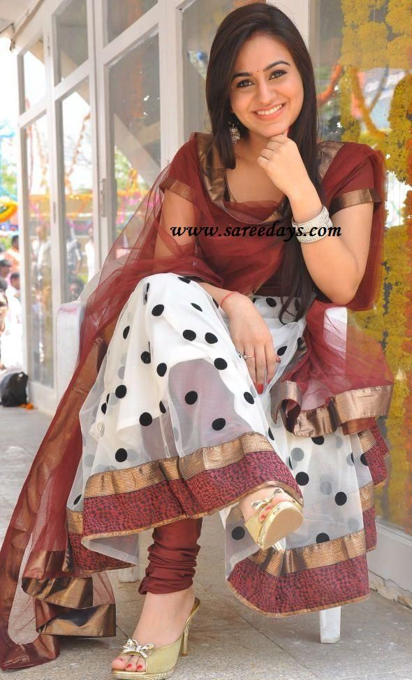Latest Saree Designs: aksha in designer polka dots anarkali salwar suit
