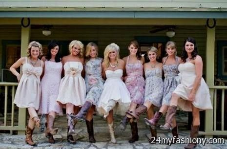 short country style wedding dresses with cowboy boots 2016-2017 ...