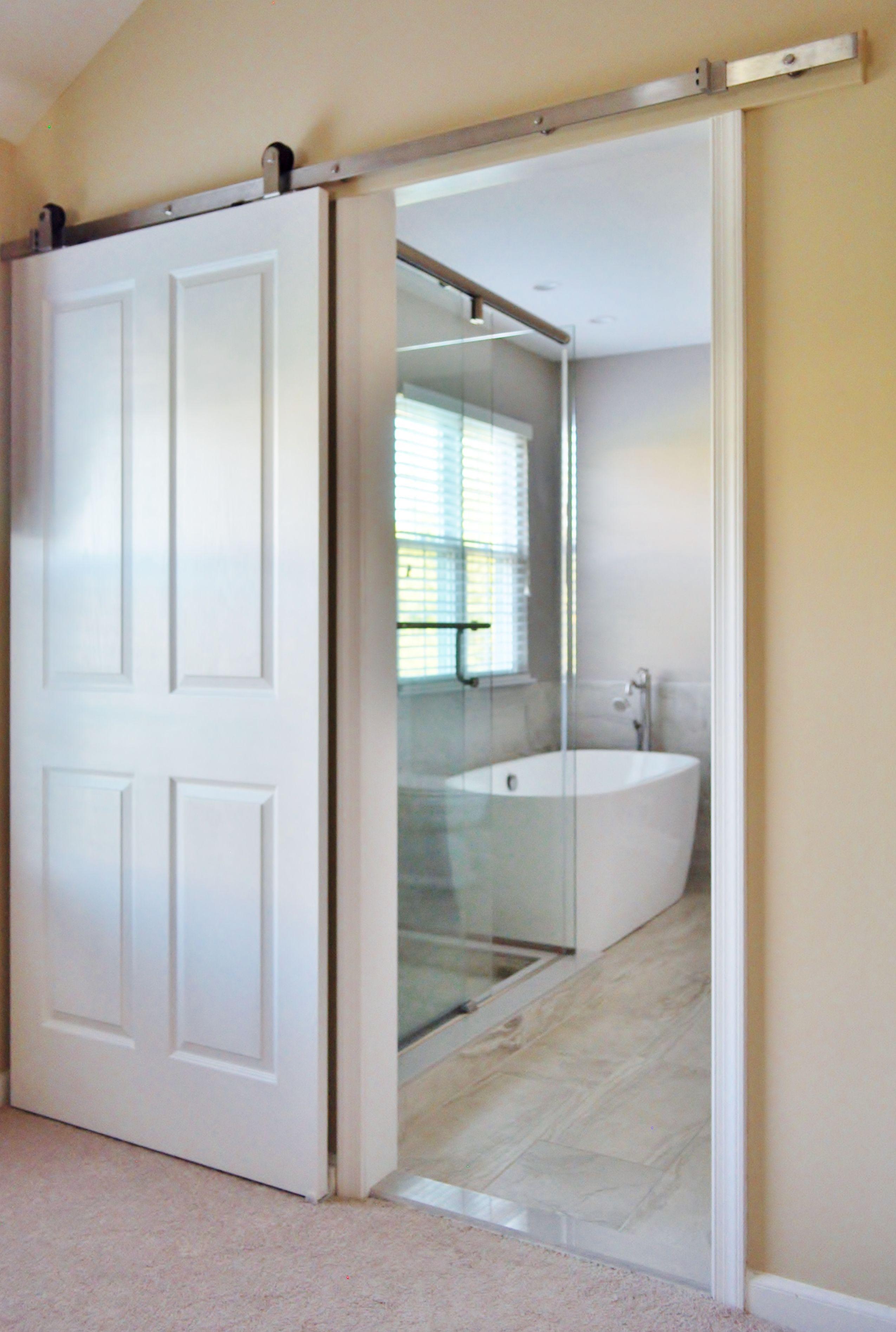 Sliding Barn Door Brushed Nickel Hardware Barn Door Barn Door Window Bathroom Retreat