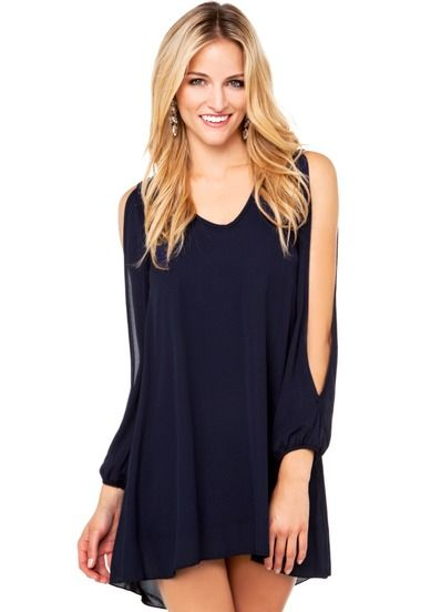 Sheinside Navy Blue Split Sleeve Dress -- Looking forward to wearing it!