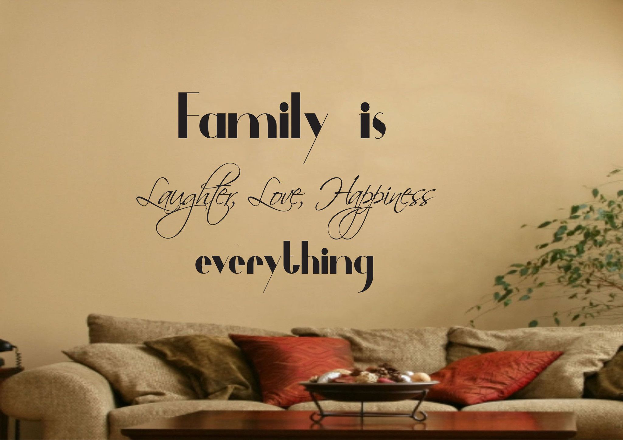 Family is Love Laughter Happiness Wall Quote Stickers ...