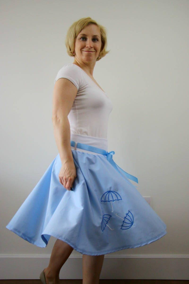 Its raining embroidered circle skirt, swing skirt, 1950s retro skirt, blue skirt, summer skirt, cotton skirt, elastic waist skirt, boho chic by ElzahDesign on Etsy