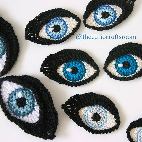 Crochet PATTERN Eyes BOOKMARK and applique / motif for dolls | Etsy