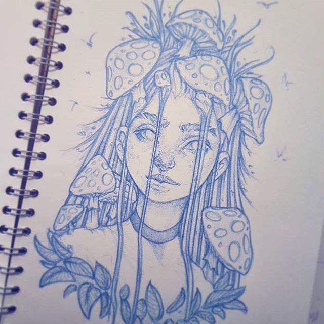 'Mushroom Girl' neue Skizze in meinem Skizzenbuch 😊. #Zeichnung #instaart #artofinsta…