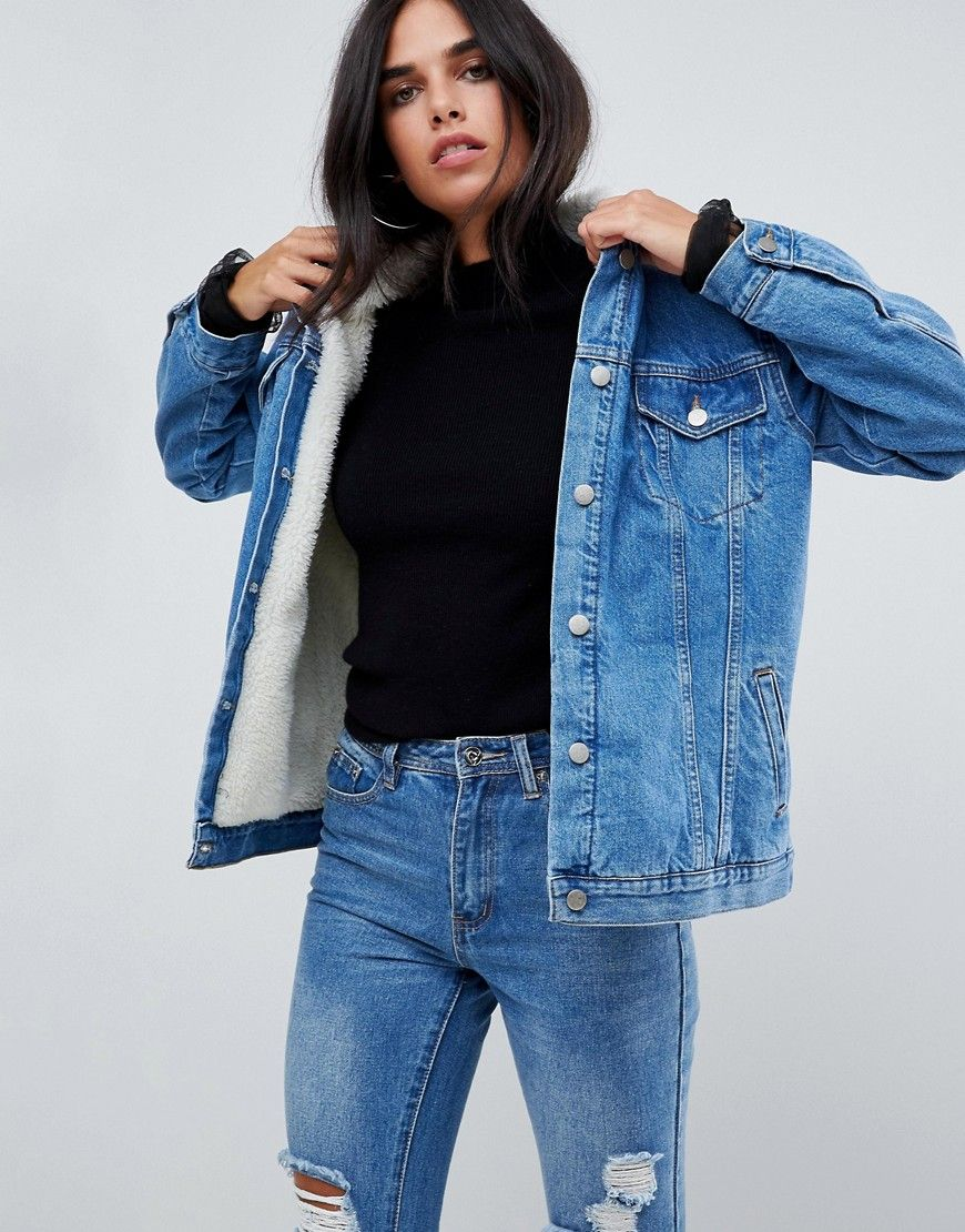 Chorus oversized denim jacket with fleece lining pinterest