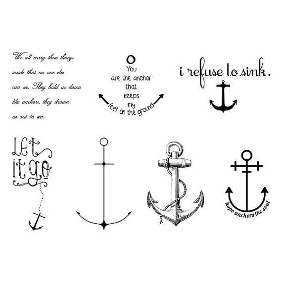 Anchored - Temporary Tattoo (Set Of 14)