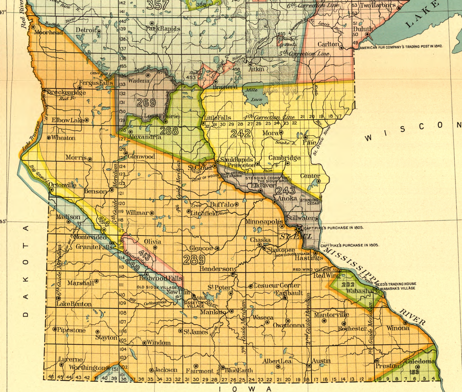 Map Documenting Treaty Agreements With Dakota People In Southern - Map of southern minnesota