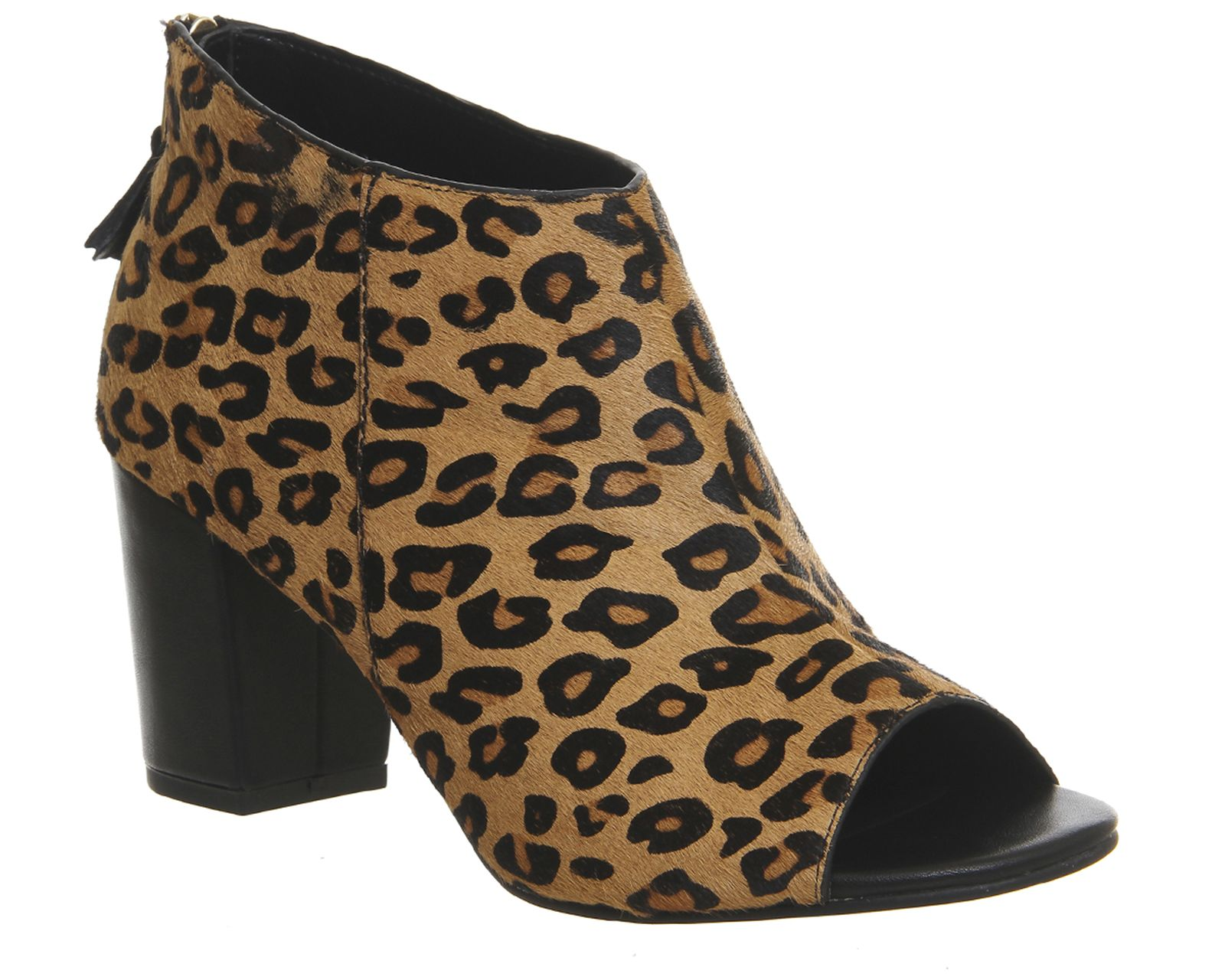 Office Quarter Back Zip Peep Toe Womens Mid Heels Leopard Pony Hair Effect