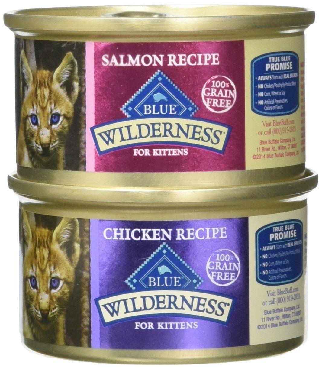 Blue Buffalo Wilderness Grain Free Variety Pack Wet Kitten Food 2 Flavors Salmon And Chicken 12 3 Ounce Kitten Food Grain Free Cat Food Natural Cat Food