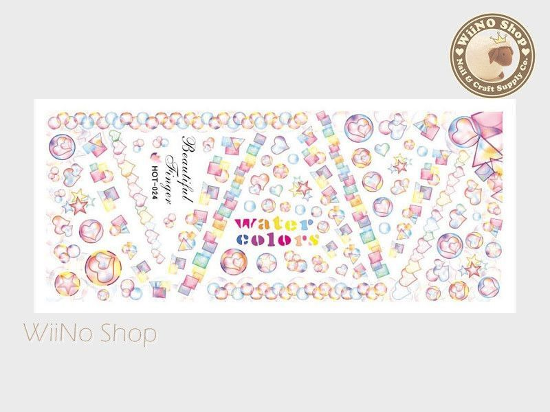 Water Color Style Bubble Water Slide Nail Art Decals - 1pc (HOT-024)