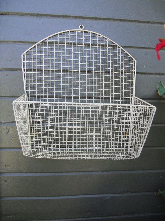 Vintage Bent Wire Mesh Metal Wall Mounted Hanging Basket Newspaper Letter Holder