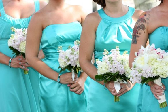 turquoise bridesmaid dresses teal bridesmaids bouquets flowers ...
