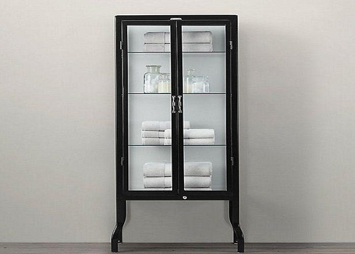 Glass Pharmacy Cabinet With Metal Frame Bath Cabinets Bathroom