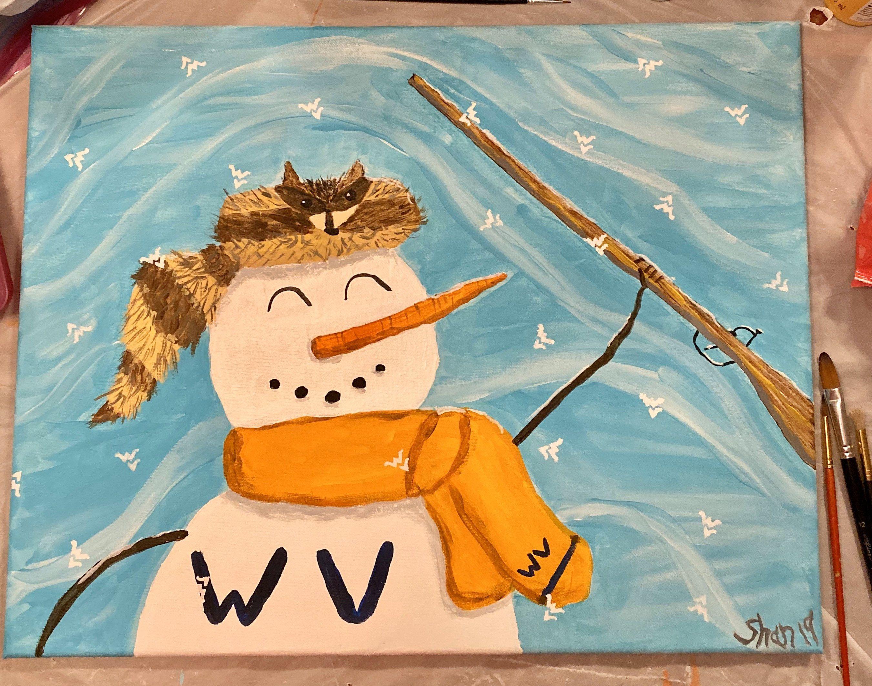 WVU Mountaineer Snowman painting