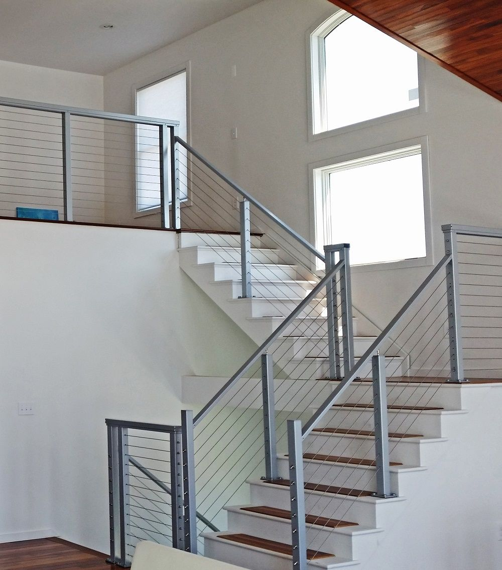 Cable Stair Railing Square Stainless Steel Posts And