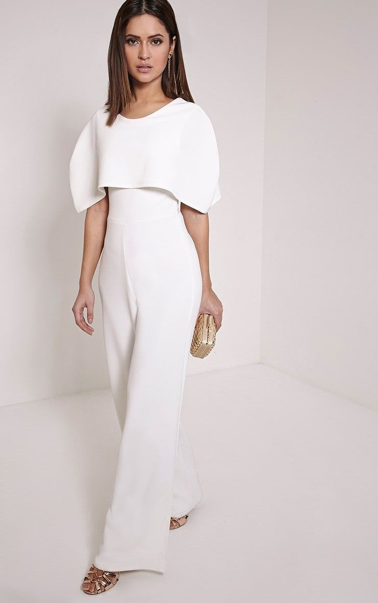 How Trendy Is This Jumpsuit Cream Cape Jumpsuit White Wedding Jumpsuit Reception Outfit Reception Bridal Jumpsuit White Jumpsuit Wedding Cape Jumpsuit
