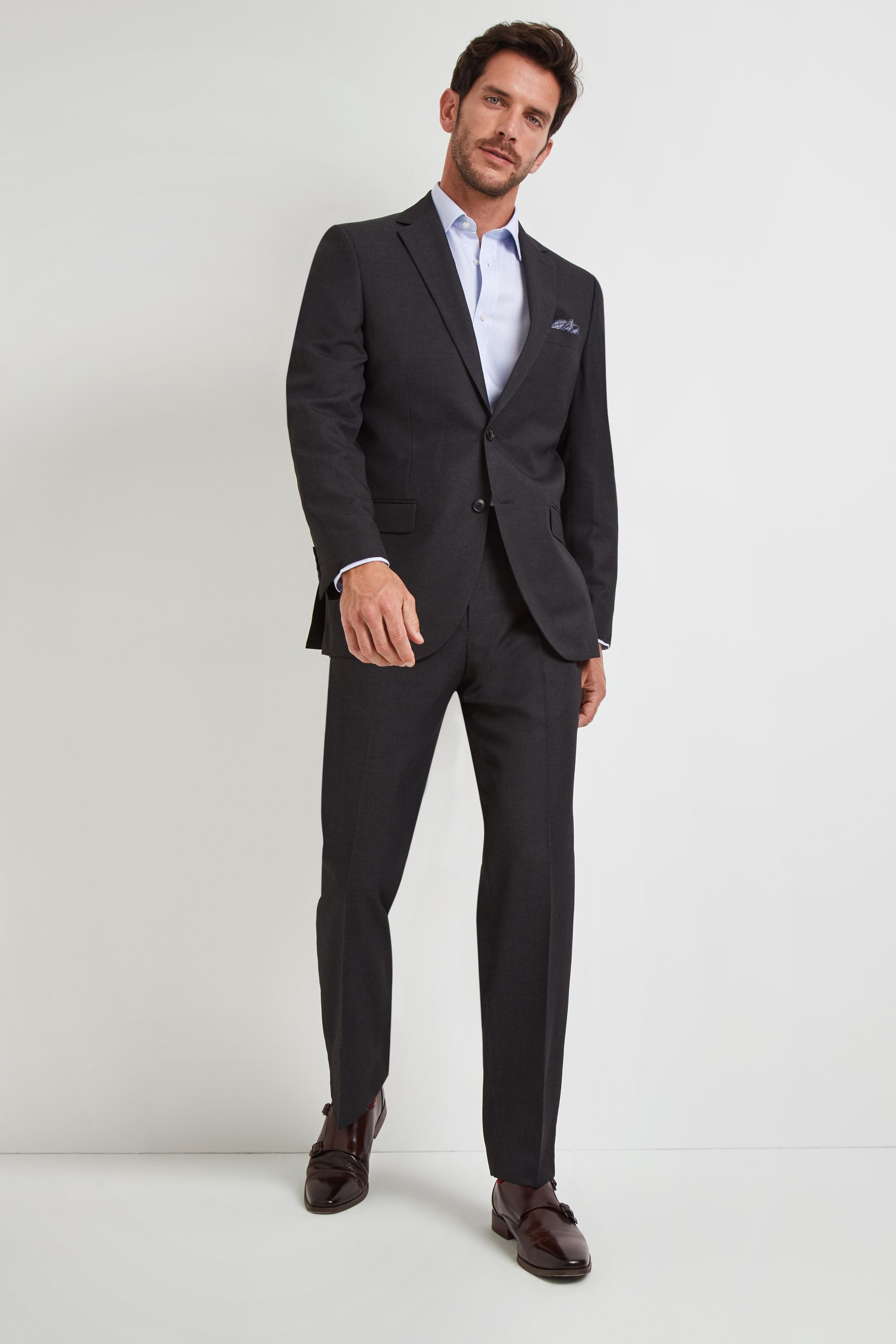 6dcf2dea0870b Select this charcoal suit from Moss Esq and let the world know you mean  business
