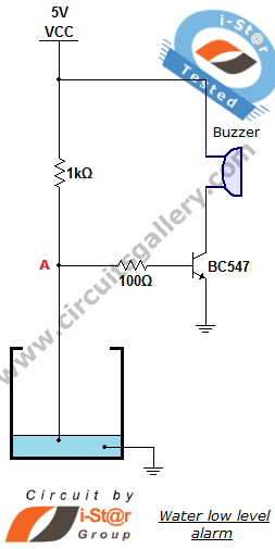 low water level indicator alarm circuit works but only with a 10mohm  resistor in place of the 10k