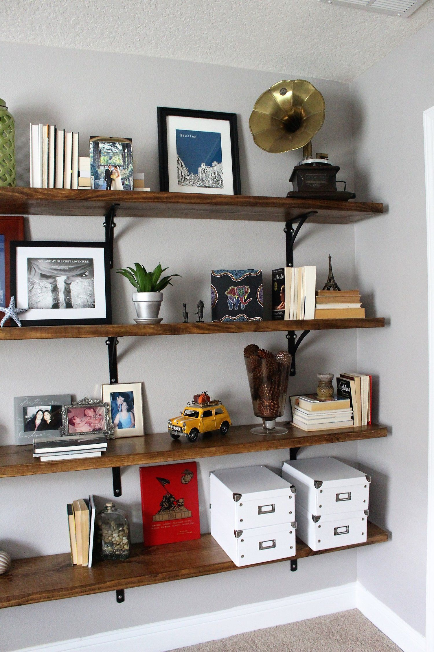 shelving for home office. Storage On Open Shelving, Home Office, Decorating, Decor, DIY, How To, Inspiration, Wood, Shelving For Office D