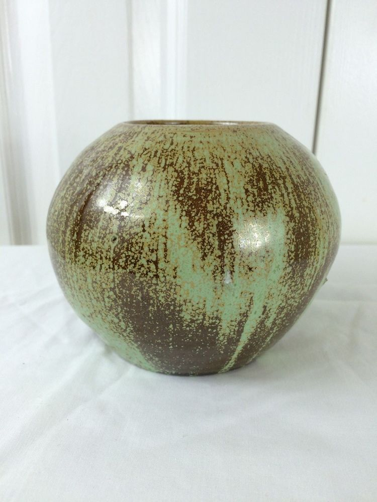 """A R COLE 4.25"""" High Round Form Green Brown Glaze Vase NC Pottery"""