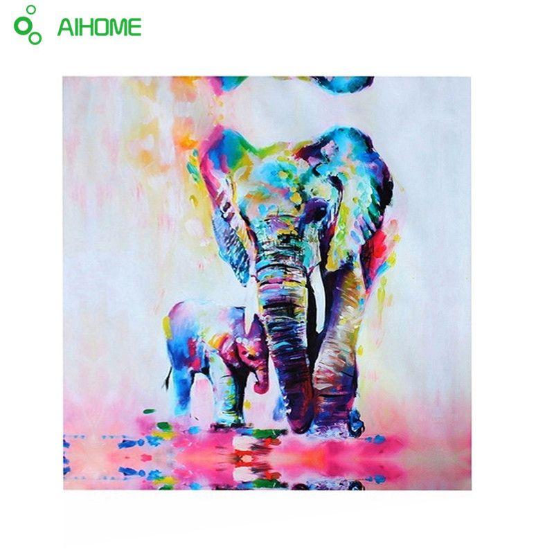 Animales Elefante Con El Hijo de Lona Pintura HD Impreso Lienzo Arte ...