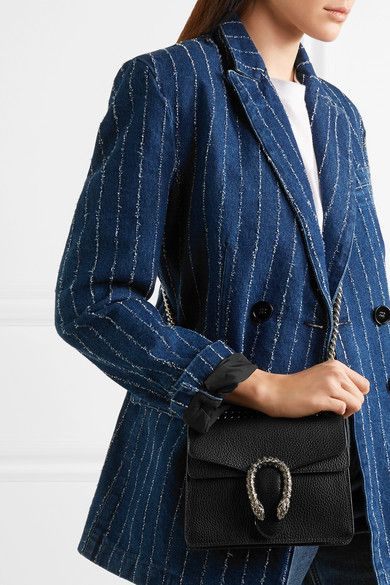 58525946bbc3 Gucci - Dionysus Mini Textured-leather Shoulder Bag - Black