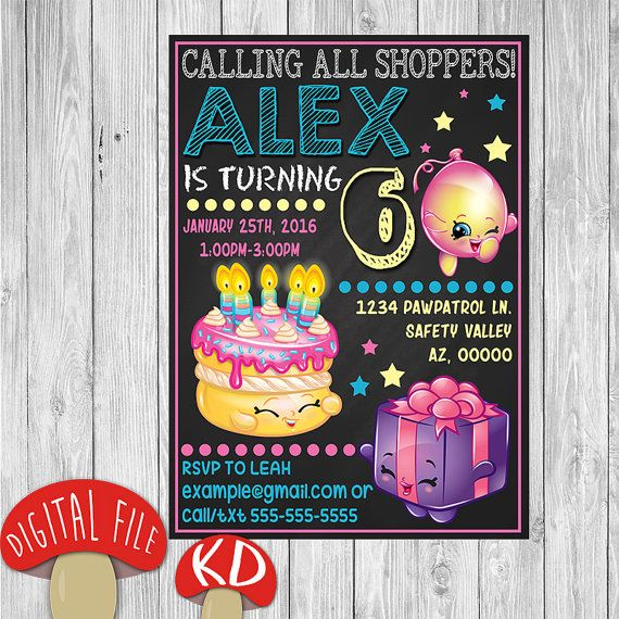 Shopkins Birthday Invitation Calling All Shoppers Its The
