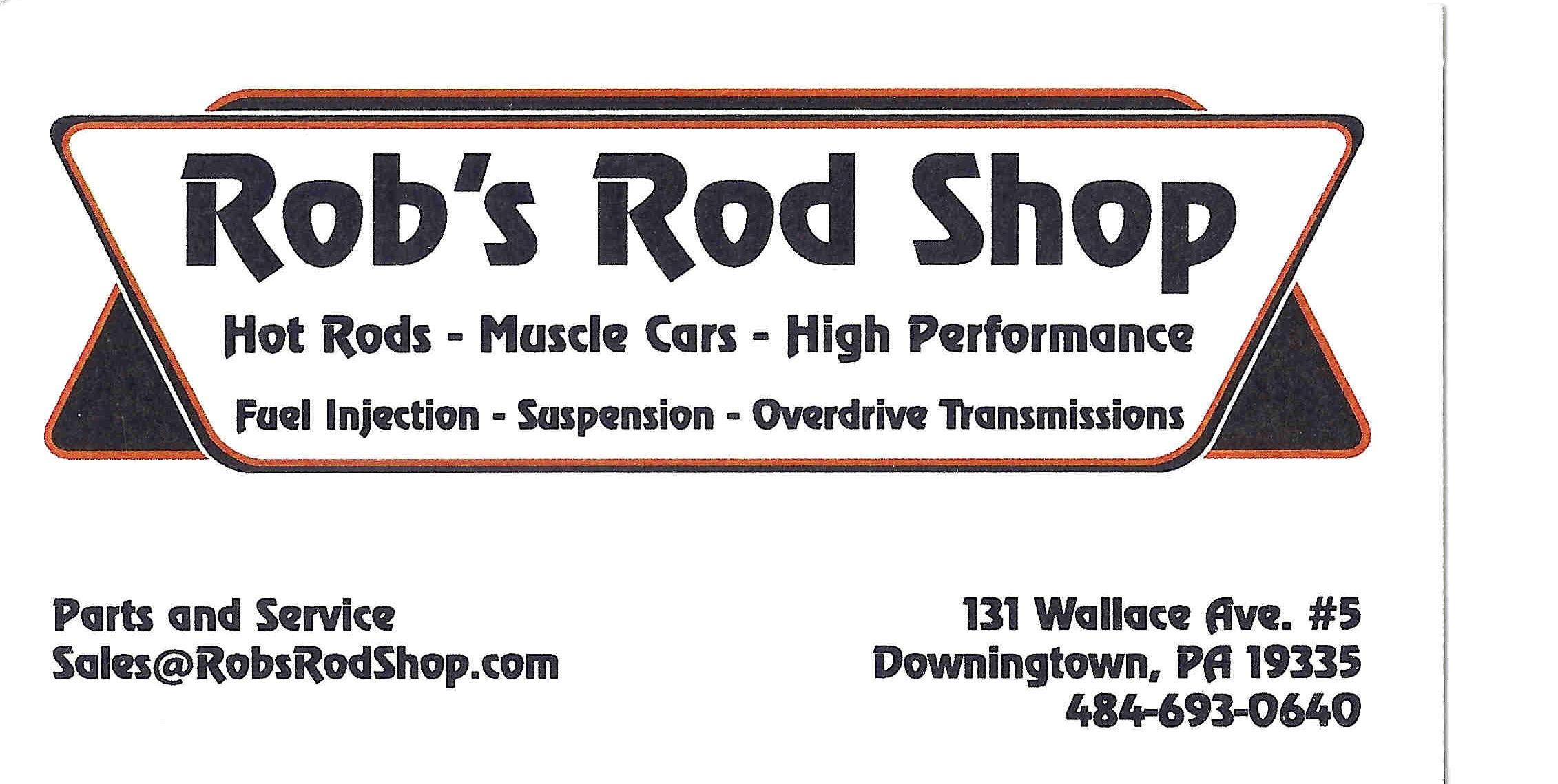 business card for rob s rod shop