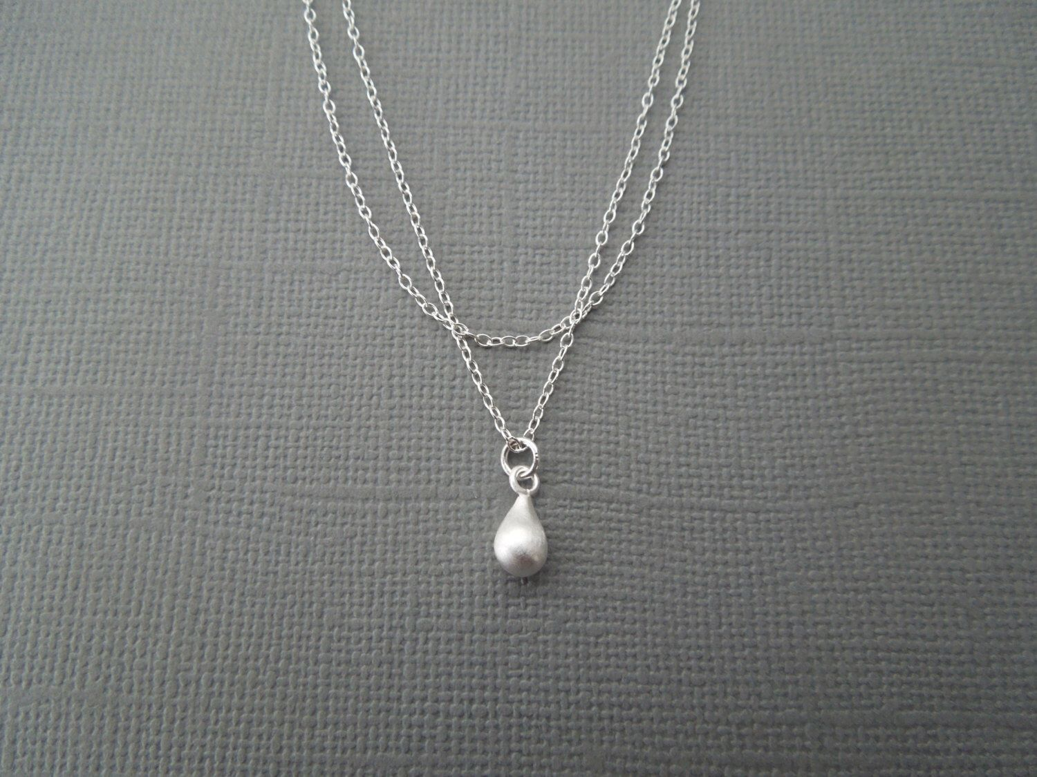 double strand necklace, matte teardrop, small delicate bridesmaids, wedding everyday layered by greygoosegifts on Etsy https://www.etsy.com/listing/171669465/double-strand-necklace-matte-teardrop